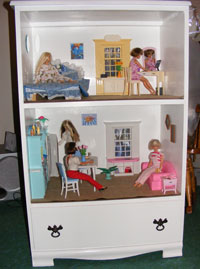Build a Barbie Doll House from a wood dresser