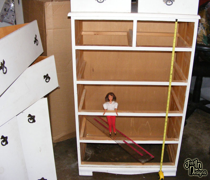 building a barbie doll house with a recycled dresser from